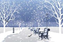 Sneeuw die in stadspark valt Stock Fotografie