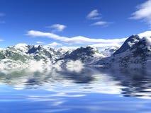 Sneeuw en bergen. stock afbeelding