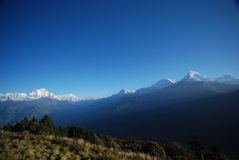 Sneeuw en bergen in Nepal Royalty-vrije Stock Foto's