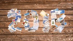 2018, sneeuw en de winterstapel foto's op houten plankenachtergrond Royalty-vrije Stock Afbeeldingen