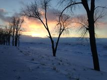 Sneeuw en Ijsduinen op Kust van Meer Erie bij Zonsondergang, Presque-het park van de Eilandenstaat Stock Fotografie