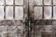Sneeuw en ijzige verfraaide deuren Royalty-vrije Stock Foto's
