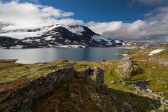 Sneeuw en meer in het nationale park van Jotunheimen royalty-vrije stock afbeelding