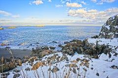 Sneeuw en rotsachtig overzie van de oceaan en de kust tijdens de winter royalty-vrije stock afbeeldingen