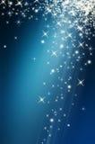 Sneeuw en ster op blauwe achtergrond Royalty-vrije Stock Afbeeldingen