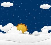 Sneeuw en Wolkenhemel Stock Afbeeldingen