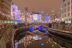 Sneeuw feestelijke stad Royalty-vrije Stock Fotografie