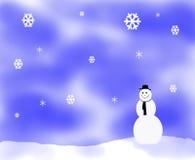 Sneeuw fkake illustratie met sneeuwman Stock Foto