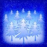 Sneeuw-gevulde Kerstmisbomen bij nacht Royalty-vrije Stock Foto's
