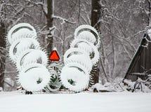 Sneeuw hayrake Stock Afbeeldingen