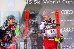 Sneeuw Koningin Trophy 2019 de ceremonie van de de Slalomtoekenning van Mensen royalty-vrije stock fotografie