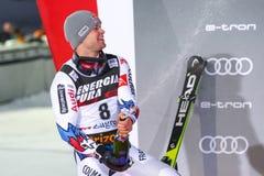 Sneeuw Koningin Trophy 2019 de ceremonie van de de Slalomtoekenning van Mensen royalty-vrije stock afbeelding