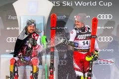 Sneeuw Koningin Trophy 2019 de ceremonie van de de Slalomtoekenning van Mensen stock foto's