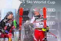 Sneeuw Koningin Trophy 2019 de ceremonie van de de Slalomtoekenning van Mensen royalty-vrije stock foto's
