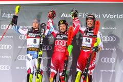 Sneeuw Koningin Trophy 2019 de ceremonie van de de Slalomtoekenning van Mensen stock fotografie