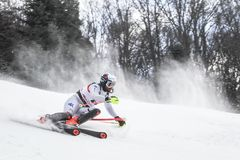 Sneeuw Koningin Trophy 2019 de Slalom van Mensen royalty-vrije stock fotografie