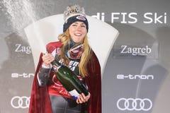 Sneeuw Koningin Trophy 2019 de toekenningsceremonie van de Damesslalom royalty-vrije stock foto's