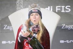 Sneeuw Koningin Trophy 2019 de toekenningsceremonie van de Damesslalom stock afbeelding