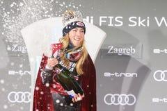 Sneeuw Koningin Trophy 2019 de toekenningsceremonie van de Damesslalom stock afbeeldingen