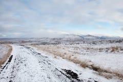 Sneeuw Landelijke Weg Royalty-vrije Stock Foto's