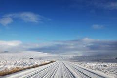 Sneeuw Landelijke Weg Stock Fotografie