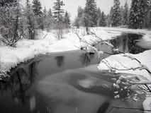 Sneeuw landschap met winderige kreek in Fluiter Briti royalty-vrije stock foto's