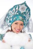 sneeuw meisje dat op een wit wordt geïsoleerdc Royalty-vrije Stock Afbeeldingen