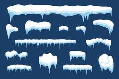 Sneeuw met ijskegel en ijskap De elementen van het de winterweer - sneeuwval en bevroren De stijl van het beeldverhaal Vector royalty-vrije illustratie