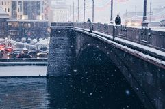 Sneeuw in Moskou Royalty-vrije Stock Fotografie