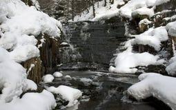 Sneeuw omringde stroom Stock Afbeeldingen