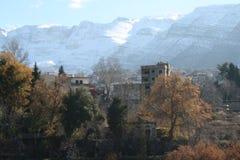 Sneeuw op berg Stock Foto