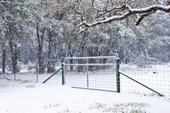 Sneeuw op een poort met bomen in Texas royalty-vrije stock afbeeldingen