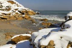 Sneeuw op het overzees royalty-vrije stock foto