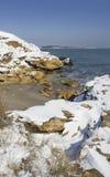 Sneeuw op het overzees royalty-vrije stock afbeelding