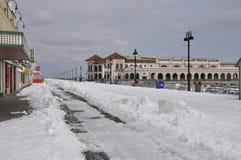 Sneeuw op promenade, Oceaanstad, New Jersey Royalty-vrije Stock Foto's