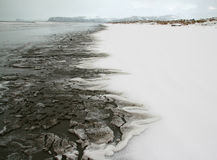 Sneeuw op strand Stock Foto