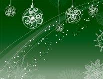 Sneeuw, ornamenten en sneeuwvlokken royalty-vrije illustratie