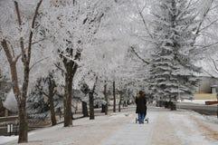 Sneeuw of regen gezond verblijf Een niet identificeerbare moedige moeder die haar baby lopen royalty-vrije stock afbeeldingen