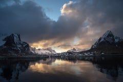 sneeuw in Reine Village, Lofoten-Eilanden Royalty-vrije Stock Foto's