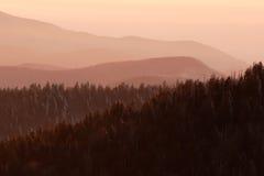 Sneeuw Roze Bergen Stock Afbeeldingen
