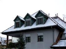 Sneeuw rustiek dak met koekoeken op de winterdag met pijnboomboom stock foto