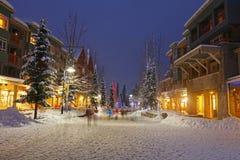 Sneeuw Scène van het Winkelen van de Winter Stock Afbeelding