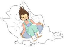 Sneeuw Sledding royalty-vrije illustratie