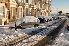 Sneeuw straat, st.Leonards-op-Overzees Stock Afbeelding