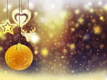 Sneeuw van de de hertenbal van het achtergrondkerstmis speelt de gouden gele hart de illustratie nieuw jaar mee van het decoratie Royalty-vrije Stock Fotografie