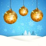 Sneeuw van de de kaartbal van de Kerstmis retro groet vector illustratie