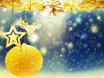 Sneeuw van het hartherten van de achtergrondkerstmis speelt de gouden blauwe gele bal de illustratie nieuw jaar mee van het decor Royalty-vrije Stock Fotografie