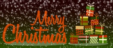 Sneeuw vrolijke Kerstmisbanner of groetkaart met kleurrijke giftdozen vector illustratie