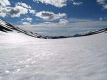 Sneeuw zadel tussen Vierramvare en Kebnekaise Royalty-vrije Stock Afbeeldingen