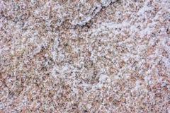 Sneeuwachtergrond op een steen stock fotografie